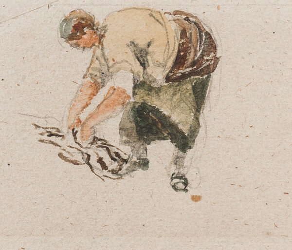 COX David O.W.S. (1783-1859) - A woman gathering wood.