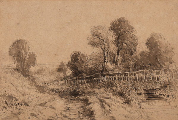 COX David O.W.S. (1783-1859) - Fenced woodland Chalk and sepia washes 8.