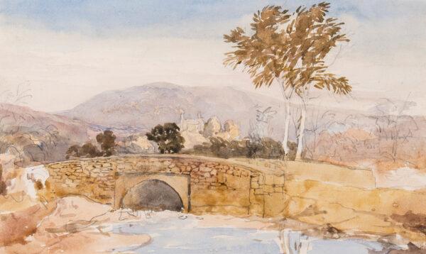 COX David O.W.S. (1783-1859) - Clatterbrook Bridge, Presteign, Stapleton Castle in the distance.