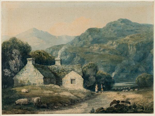 COX David O.W.S. (1783-1859) - A farmhouse at Llanberis, North Wales.