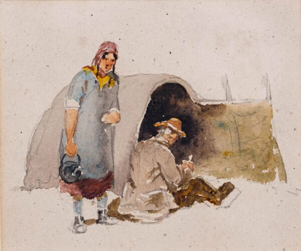 COX David O.W.S. (1783-1859) - Travellers outside their tent.