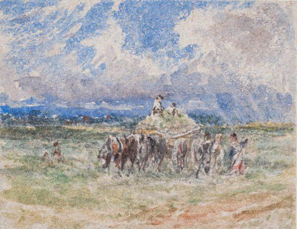 COX David O.W.S. (1782-1842) (Follower of) - A haywain.
