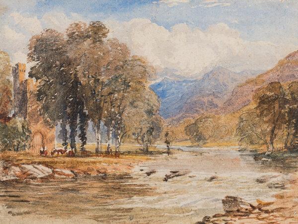 COX David Jnr N.W.S. (1809-1885) - River landscape, probably Scotland.