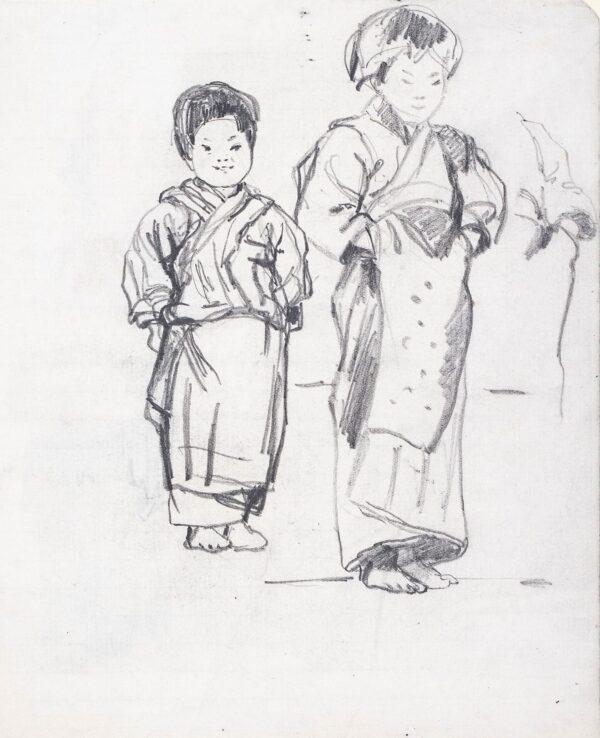 CRAWHALL Joseph (1861-1913) - Studies of children in Kimonos.
