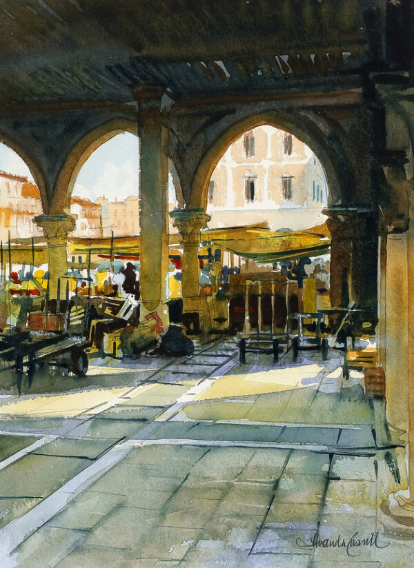 CRESWELL Alexander (b.1957) - Venice: the Rialto Market.