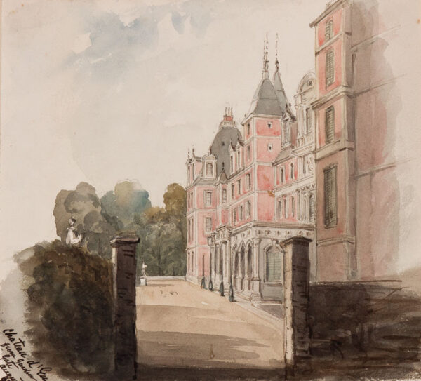 CRICHTON-STUART Lady James (Hannah Tighe 1800-1872) - 'Chateau d'Eu from Garden Gate'.