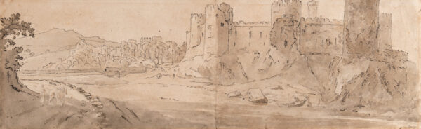 CRISTALL Joshua P.O.W.S. (1767-1847) - 'Conwy' (sic) Pencil, pen, brush and ink on two sketchbook pages.