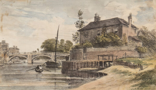CROTCH Dr William (1775-1847) - Berkshire: 'Windsor Bridge from the meadow going to Clewer / Mr Collins House / Young Cramer and Blagsom (?Blagrove) in the boat'.