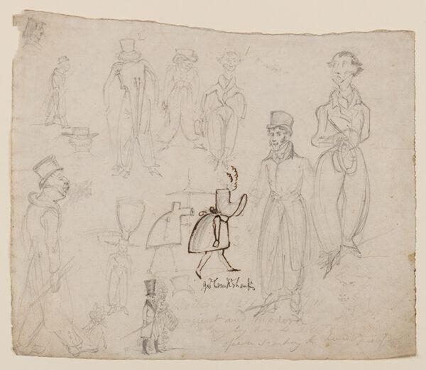 CRUIKSHANK George (1792-1878) - Recto and verso: character studies.