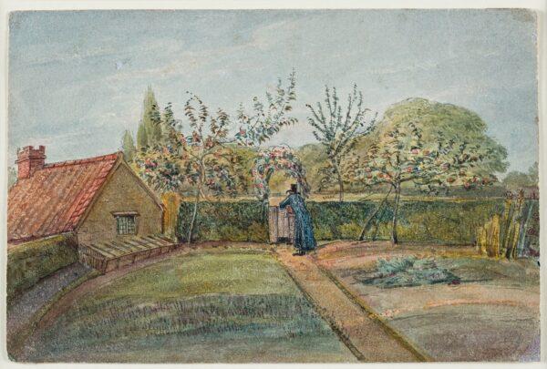 CUMBERLAND George (1754-1848) - 'Flower Garden Autumn Afternoon / at Lawrence Weston near Bristol / … little Garden of Old Jenkins Cottage …'.
