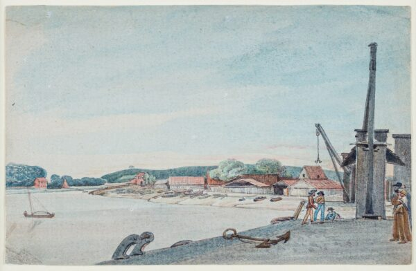 CUMBERLAND George (1754-1848) - 'Boat Builders Sheds from Quay', Bristol.