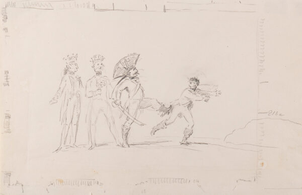 DANCE-HOLLAND Sir Nathaniel R.A. (1735-1811) - Kings and a general expelling a figure – not at all like Napoleon – towards 'Elba'.