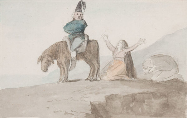 DANCE George R.A. (1741-1825) - Figures lamenting a straight jacketed figure on a donkey.