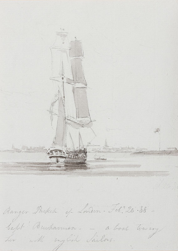 DANIELL William R.A. (1769-1837) - 'Ranger, Packet of London, Fe.