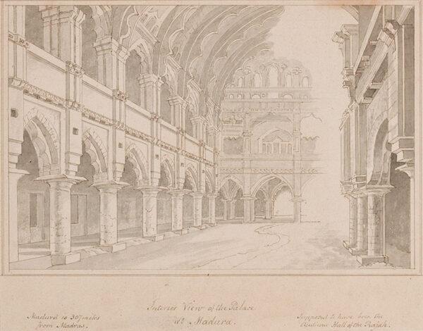 DANIELL Thomas R.A. (1749-1840) - India: 'Interior View of the Palace at Madura'.