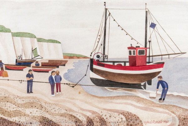 DANIELS Alfred R.W.S. (1924-2015) - 'The Red Boat, Hastings'.