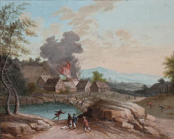 DAUBLER Johann Martin (German 1765-1811) (Attributed to) - A Village fire.