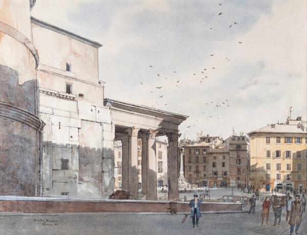 DAVIES Gordon (1926-2007) - The Pantheon, and Albergo Abruzzi, Rome.