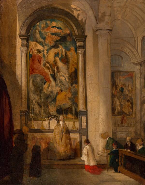 DAVIS John Scarlett (1804-1845) - The interior of the Augustine Church, Antwerp, with Jordaens altarpiece 'Martyrdom of St Apollinaire' and Rubens' 'Mystic Marriage of St Cartherine' beyond.