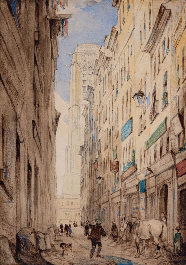 DAVIS John Scarlett (1804-1845) - 'Paris': street leading to Notre Dame.