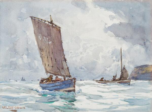 DAWSON Nelson (1859-1941) - Fishing boats just off shore.