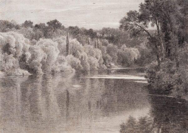 DE CURZON Alfred (1820-1895) - 'Bords du Doubs a Audincourt'.