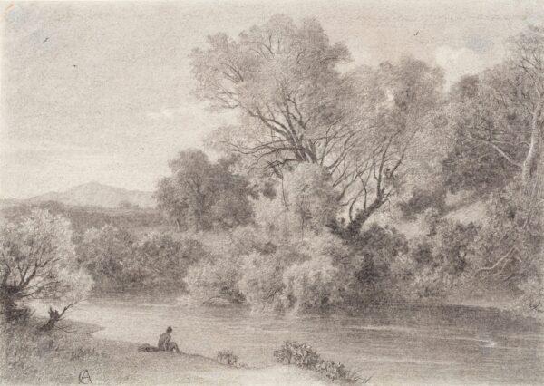 DE CURZON Alfred (1820-1895) - 'Bords du Teverone pres Lunghezza' Charcoal.