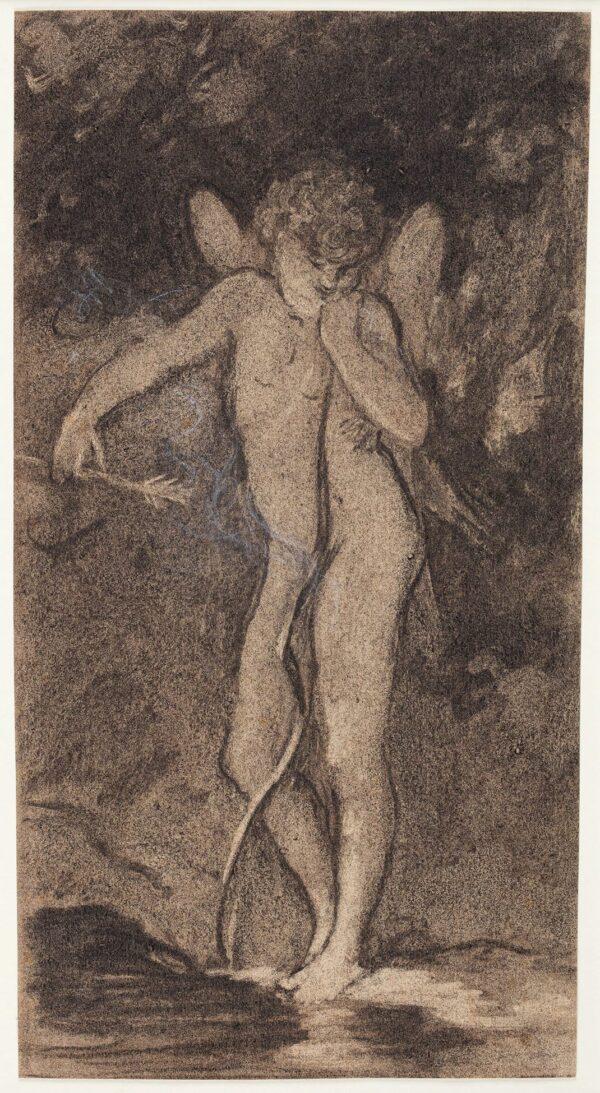 DE CURZON Alfred (1820-1895) - 'L'Amour au fond des bois'.