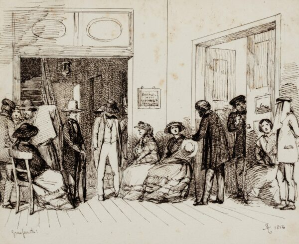 DE LEUW Friedrich Herman (1792-1861) (Subject) Anon. 1856. - Westphalia (Germany) 'Gra(e)frath'; the waiting room of the famous ophthalmologist at 25 Freedom Street.