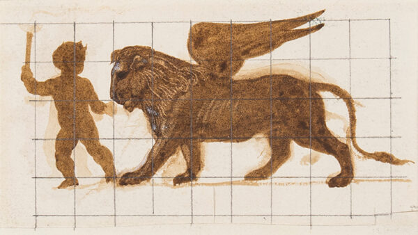 DE MORGAN William (1839-1917) - Lion and Putto.