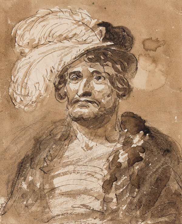 DE WILDE Samuel (1751-1832) - A feathered hat; possibly the study of an actor.