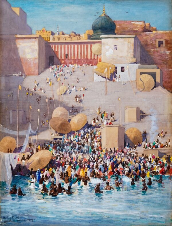 DEAN Frank (1865-1947) - 'Bathing Ghats, Benares'.