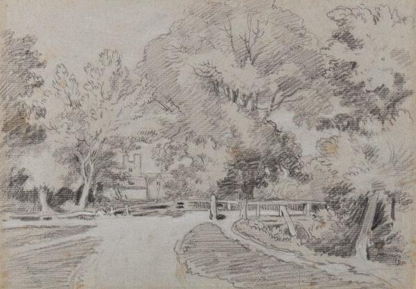 DELAMOTTE William Alfred (1775-1863) - Bridge in woodland.