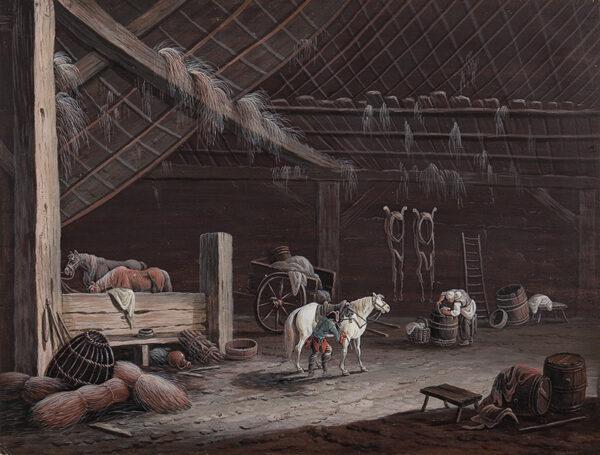 DIETZSCH Johann Christoph (German 1710-1769) (Attributed to) - The white horse: barn interior.