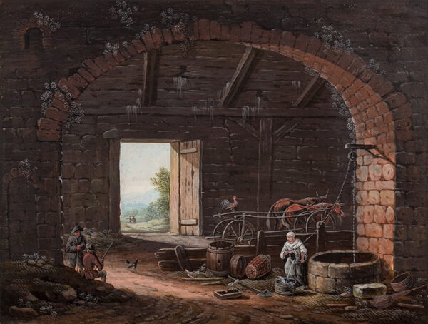 DIETZSCH Johann Christoph (German 1710-1769) (Attributed to) - View from barn interior.