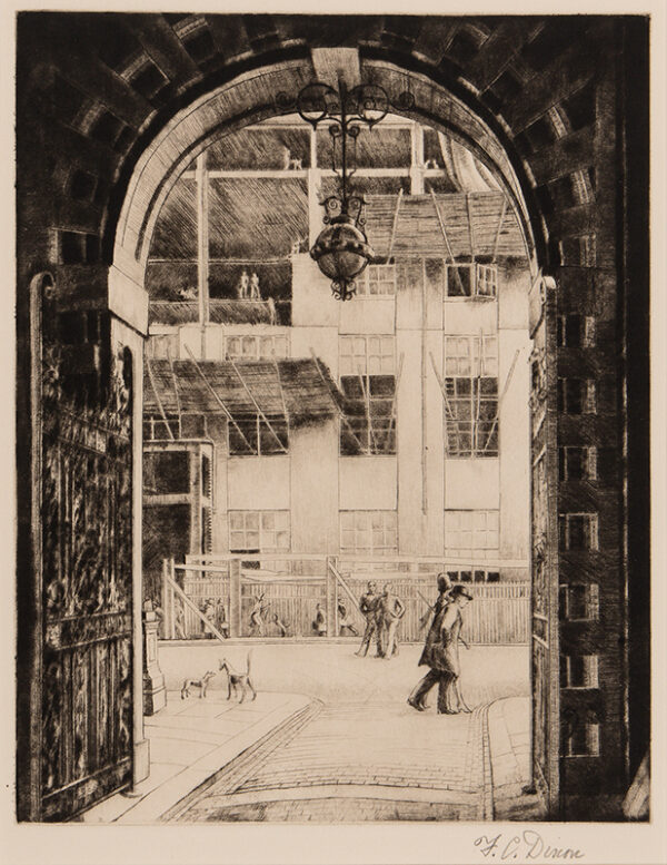 DIXON Frederick Clifford (1902-1992) - The old Science Museum seen from the Henry Cole Gate of the Victoria and Albert Museum.