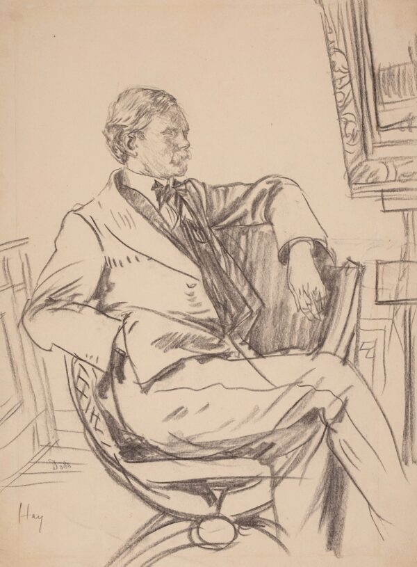 DODD Francis R.A. (1874-1949) - James Hamilton Hay (1874-1916), the artist and Dodd's friend and etching pupil, Chalk study for Dodd's 1913 dry-point of Hay.