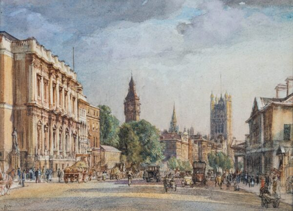 DODD Francis R.A. (1874-1949) - Whitehall and the Palace of Westminster.