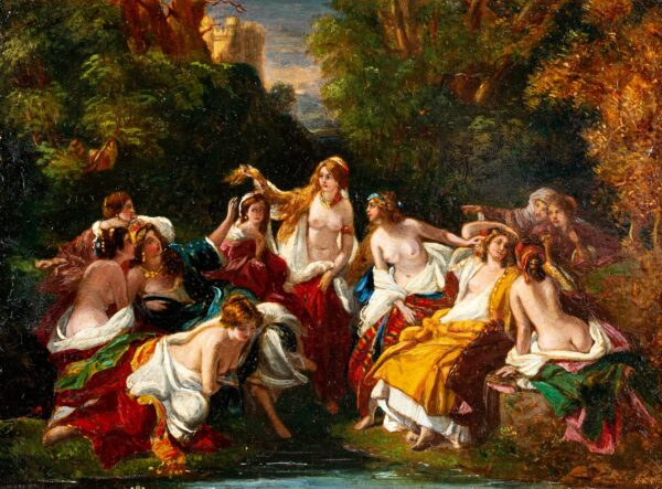 DOWLEY C. (possibly the C. Dowley who exhibited at the R.A. in 1833) - Bathers.