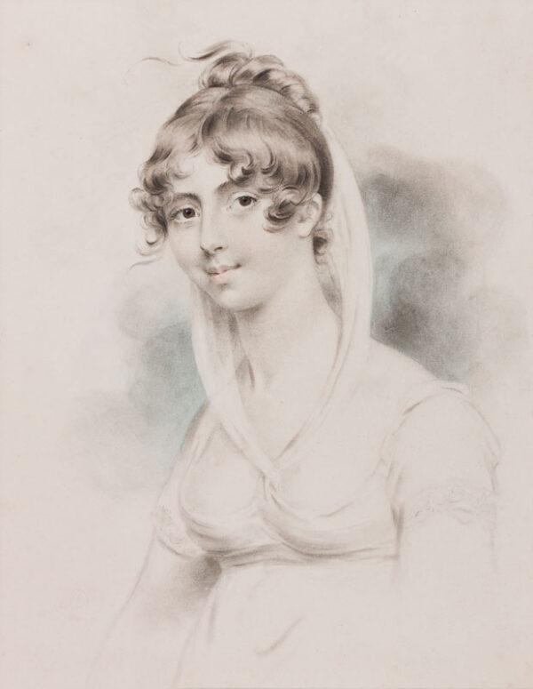DOWNMAN John A.R.A. (1750-1824) - 'Mrs FitzGerald from Ireland / Fancy Dress'.