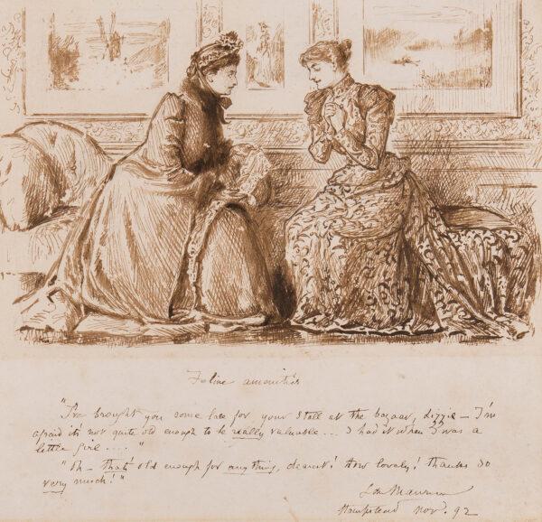 DU MAURIER George (1834-1896) - 'Feline Amenities' Pen and ink.