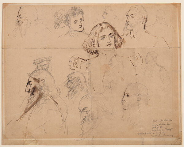 """MAURIER George Du (1834-1896) - 'Rough sketch for some of the characters in """"Trilby""""', including Trilby and Svengali."""
