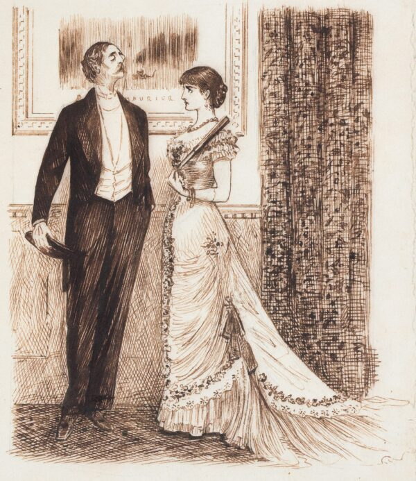 """DU MAURIER George (1834-1896) - '""""Been to see the Old Masters, Mr Millefleurs?"""" / """"A-no-a-I-a-go in for High Art you know!"""" (What does he mean – we don't know – no more does she – no more does he – nobody knows!)' Pen and ink."""