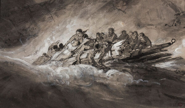 DUNCAN Edward (1803-1882) - Survivors of a ship wreck coming ashore.