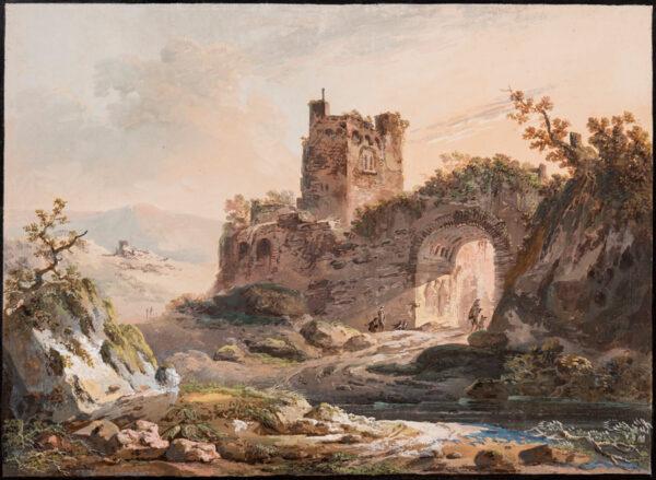 DUVAL Eustache-Francois (fl.1784-1836) (attributed to) - Capriccio: ruined fort.