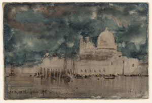 EAST Sir Alfred R.A. (1844-1913) - Venice: the Salute at night.