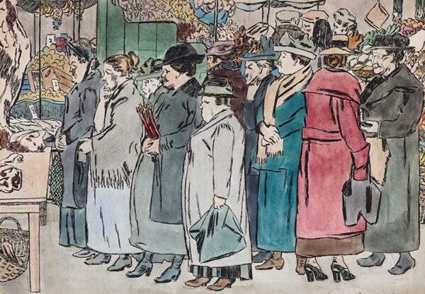 EVANS Powys 'QUIZ' (1899-1981) - London: East End Market.