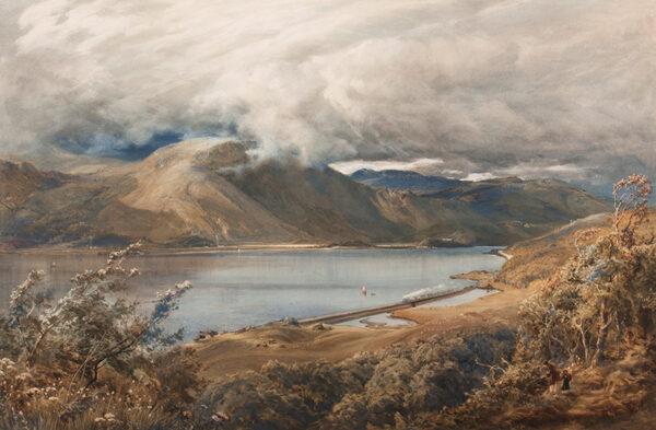 EVANS Bernard R.I. (1843-1922) - Landscape: North Wales, possibly a stretch of the Ffestiniog railway Watercolour.