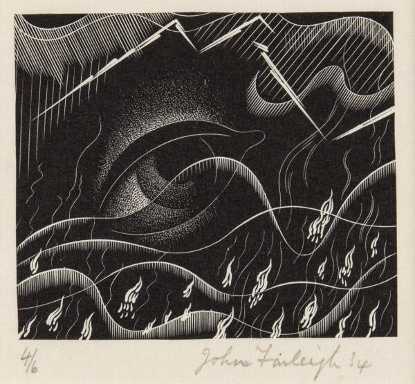 FARLEIGH John R.E. (1900-1965) - 'The Earth shook and trembled, the foundations of Heaven moved and shook, because he was wroth…' Wood engraving.