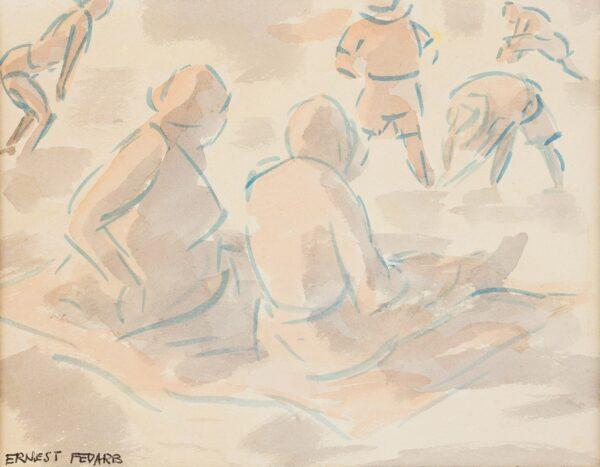 FEDARB Ernest (1905-2005) - Beach scene.